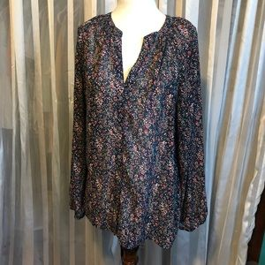 JCrew Mercantile Chiffon Floral Long Sleeve Blouse